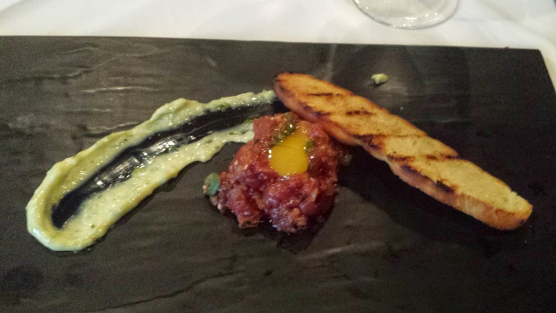 One Block West Chef's Tasting Whim Elk Tartare Kimchee