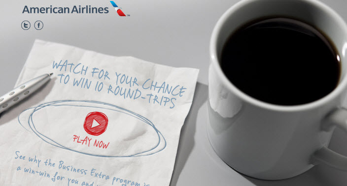 win 10 flights american airlines business extra video