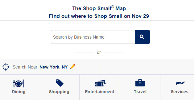 Small Business Saturday AMEX search functions