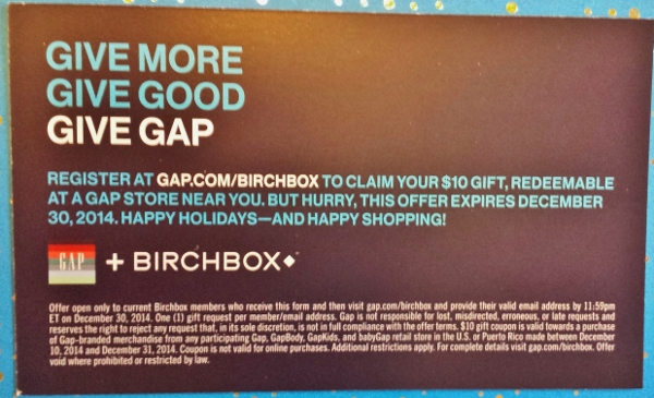 Birchbox December 2014 Gap $10