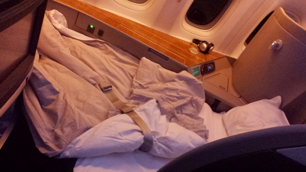 Cathay Pacific First Class JFK YVR lie flat bed