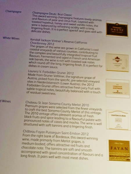 Cathay Pacific Business Class YVR-JFK wine menu