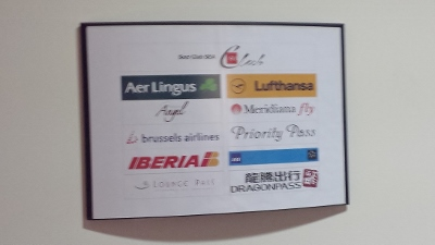 Linate Airport Sala Leonardo Lounge sign