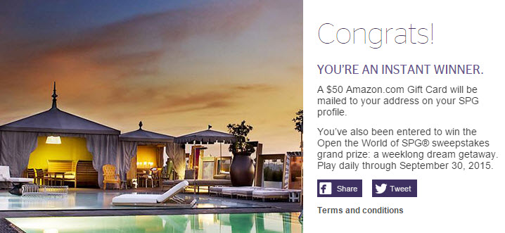 spg open your world promo instant winner
