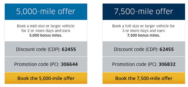 Hertz United Mileage Plus 7500 offer