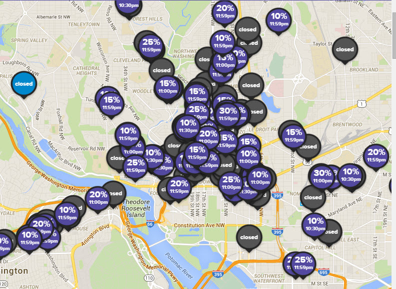 Living Social Restaurants Plus map options
