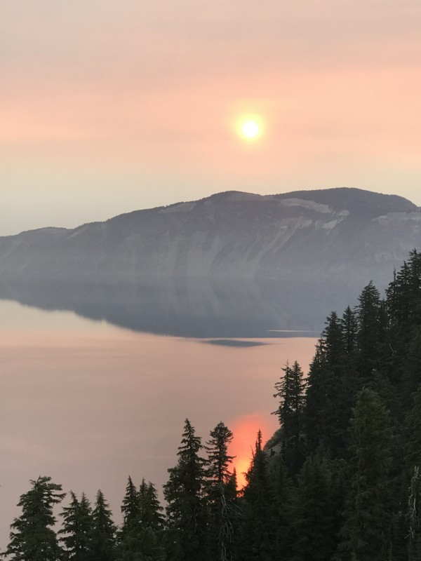 Sunrise at Crater Lake during wildfires